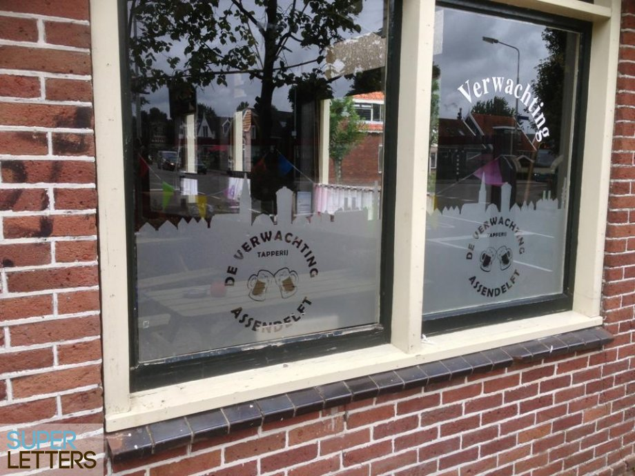 decoratie stickers | Gezandstraald glas effect